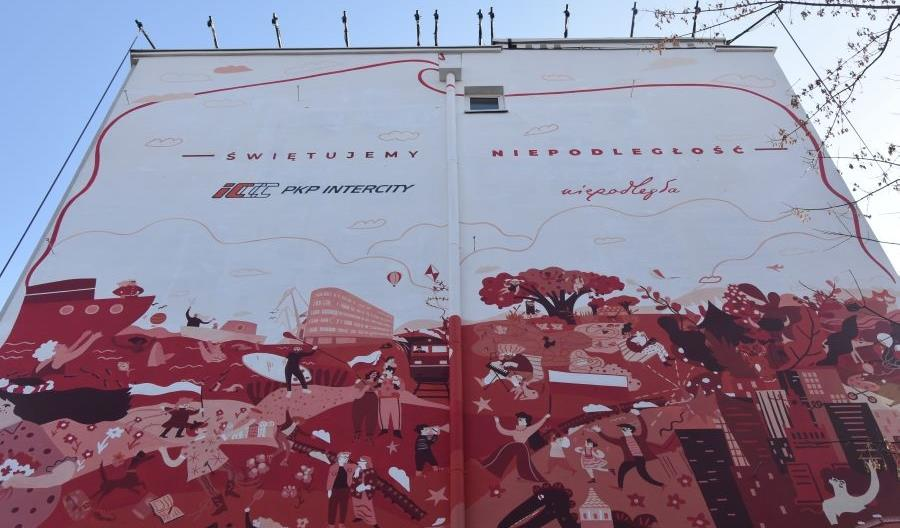 Mural PKP Intercity na 100-lecie niepodległości na warszawskim Solcu