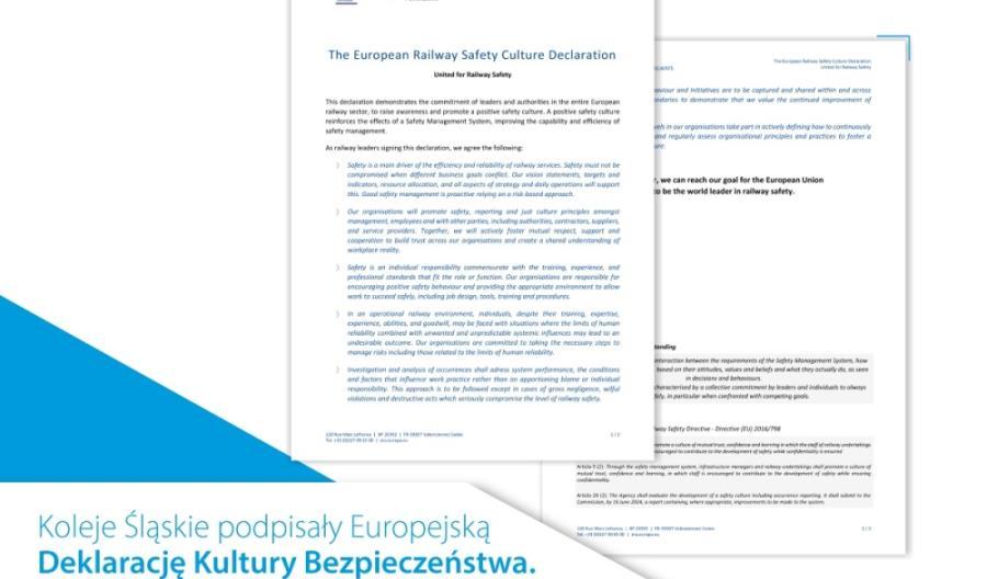 Koleje Śląskie podpisały Deklarację Kultury Bezpieczeństwa