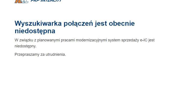 Kolejne problemy z internetową sprzedażą biletów PKP Intercity