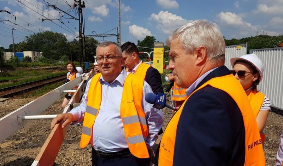Adamczyk i Merchel odwiedzili modernizację linii Kraków – Katowice