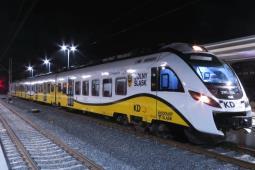 Pierwszy pociąg Kolei Dolnośląskich dojechał do Lubina. Na razie testowy [zdjęcia, film]