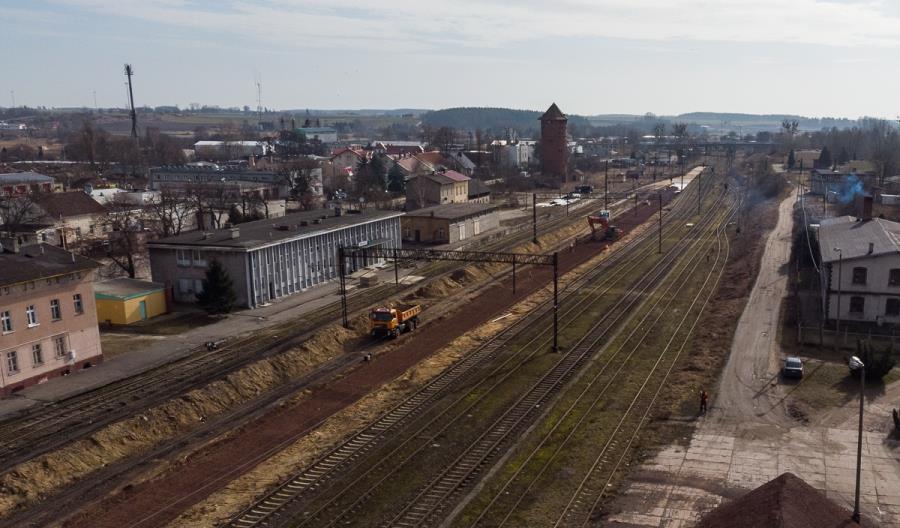 Maszyna PUN układa tor na odcinku Działdowo – Olsztyn