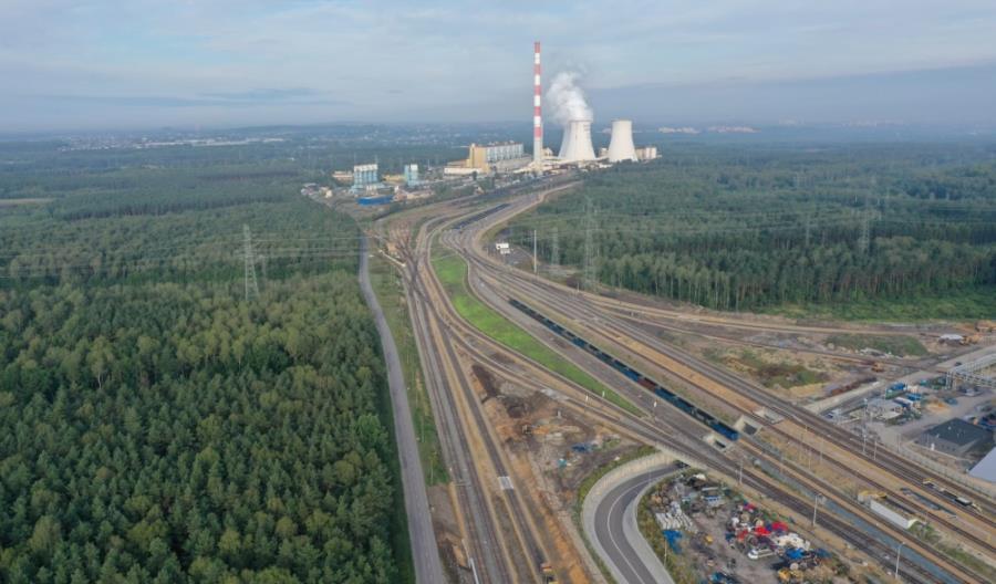 Gotowy układ torowy dla elektrowni Jaworzno III. 20 km torów, 64 rozjazdy