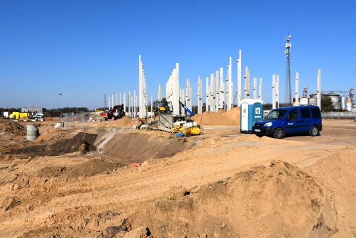 Trwa budowa bazy Kolei WIelkopolskich w Wągrowcu