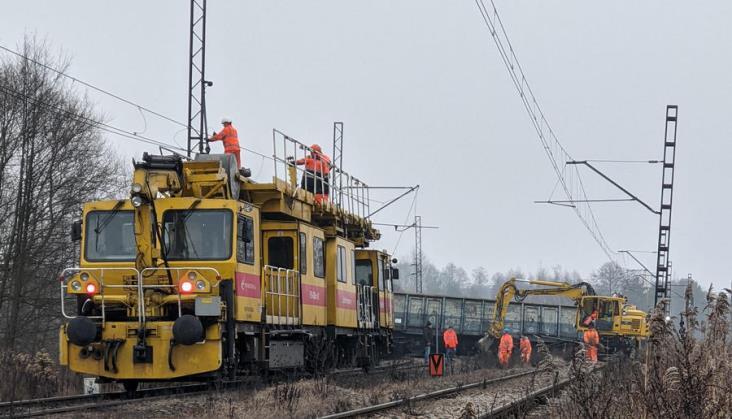Wykolejenie pociągu towarowego na linii 148 na Śląsku