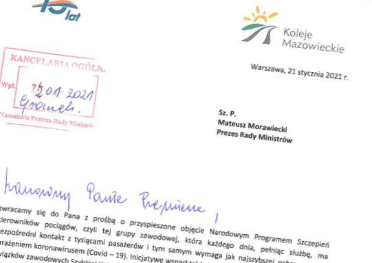 Koleje Mazowieckie i SKM Warszawa piszą do premiera ws. szczepień kierowników pociągów