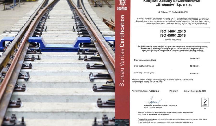 KZN Bieżanów z certyfikatem ISO 45001:2018