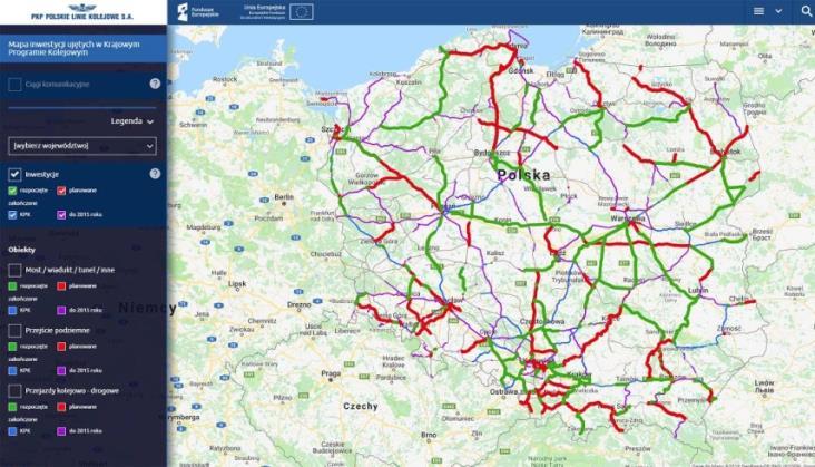 Inwestycje kolejowe na interaktywnej mapie PLK