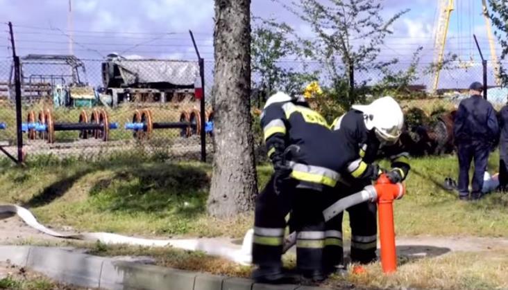 Pożar w zakładach kolejowych w Dębicy