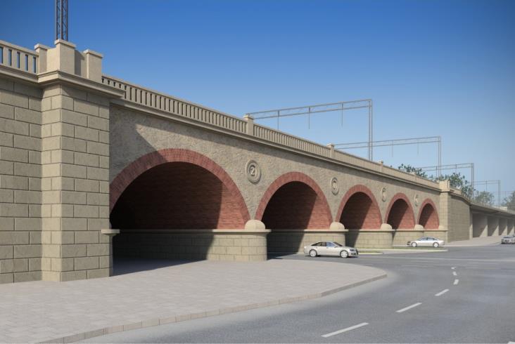 Kraków z nowymi mostami kolejowymi nad Wisłą