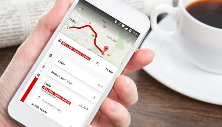 Połączenia PolRegio w Mapach Google'a