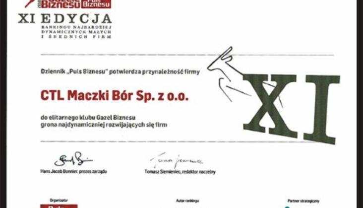 """""""Gazela Biznesu 2010"""" dla CTL Maczki- Bór"""